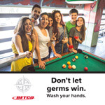 dont let germs win youth playing pool poster