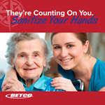 Long term care sanitize your hands poster