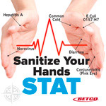Sanitize your hands stats poster Acute care