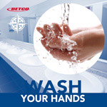 Washing hands in running water poster